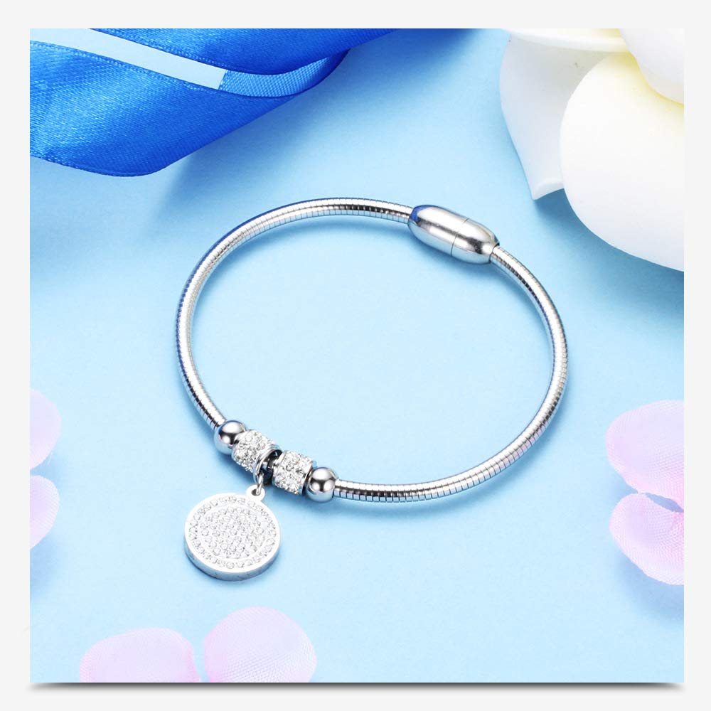 Gift for Teen Girls Xuxuan Stainless Steel Women Crystal Bracelet Magnet Buckle Bangle Bracelet for Birthday and Friendship