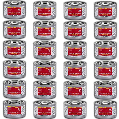 Chafer Warmer - Chafing Dish Fuel Cans - Includes 24 Ethanol Gel Chafing Fuels, Burns for 2 Hours (6.43 OZ) for your Cooking, Food Warming, Buffet and Parties.