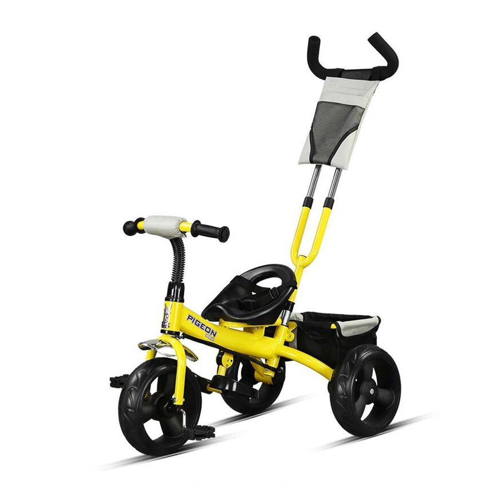 子供の三輪車バイク2-5歳の赤ちゃん/赤ちゃんの自転車トロリー、黄色/ピンク/白、76 * 43 * 110cm ( Color : Yellow ) B07BZNGW39
