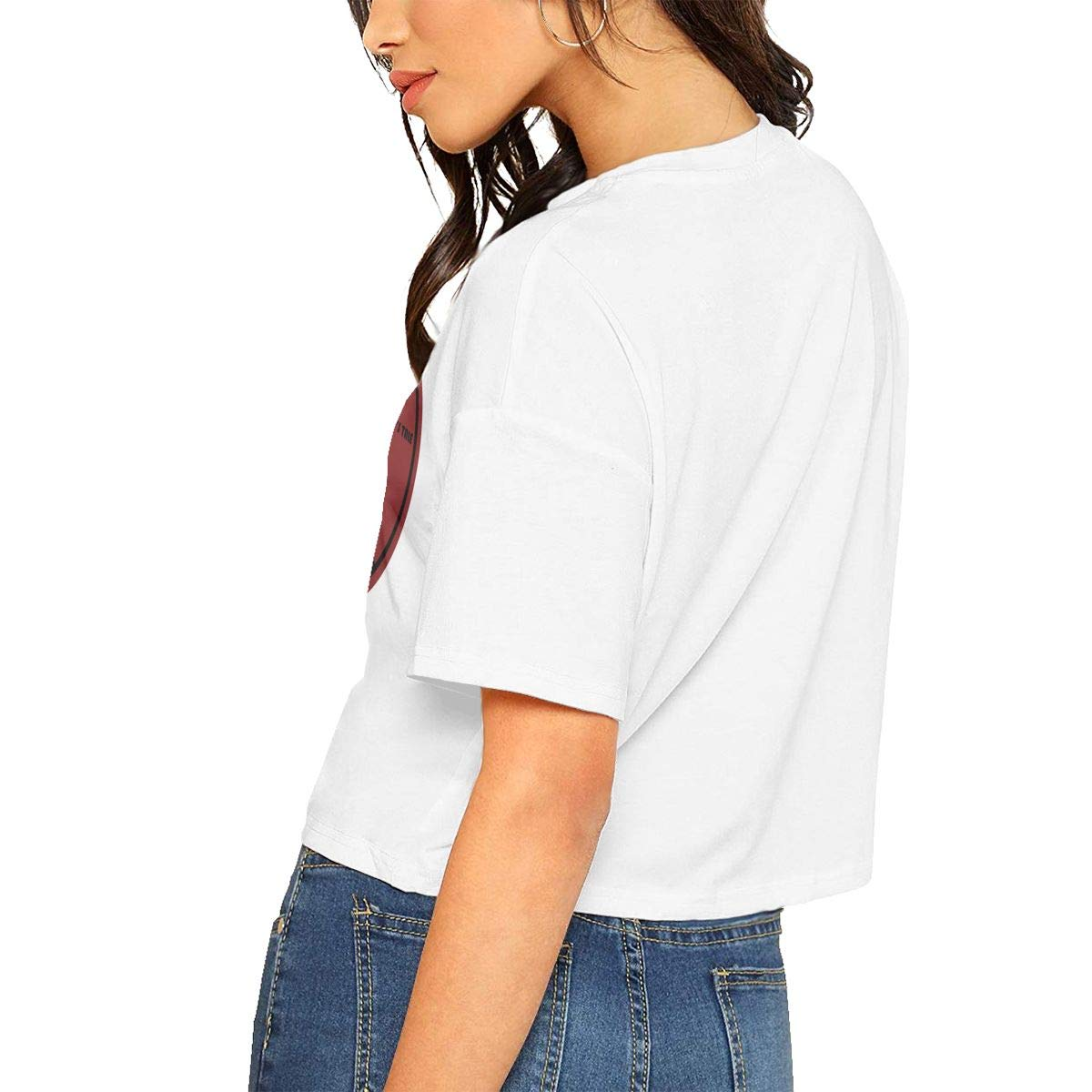 Qmad Womens Tale for Ruled Life Crop Top Tee T-Shirts Fashion Short Style Design Travel Skateboarding Short-Sleeve Comfortable Tee Top White