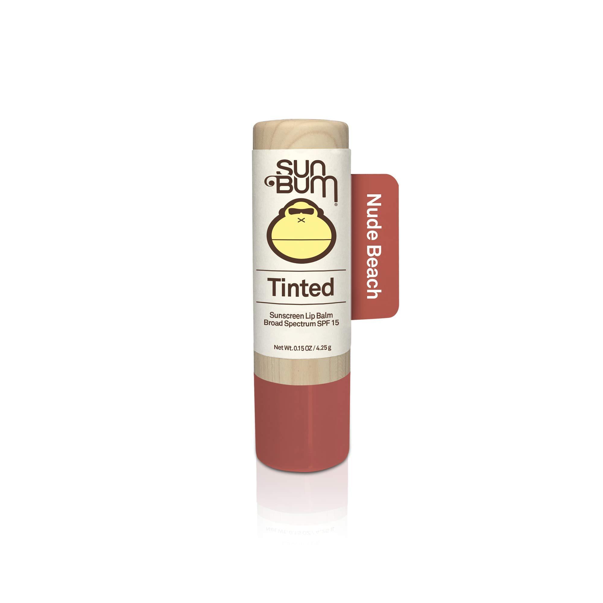 Sun Bum Tinted Lip Balm Nude Beach | SPF 15 | UVA / UVB Broad Spectrum Protection | Sensitive Skin Safe | Hypoallergenic, Paraben Free | Ozybenzone Free | 0.15 Oz
