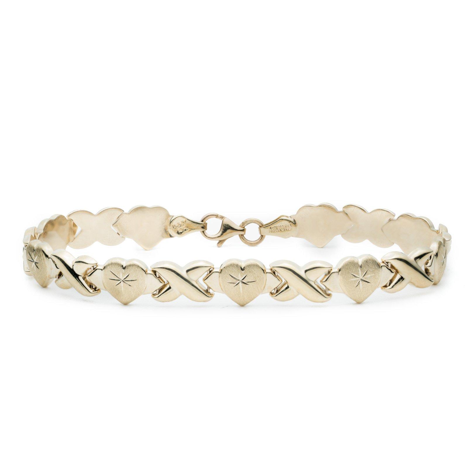 7 Inch 10k Yellow Gold Stampato Xoxo X & Heart Chain Bracelet