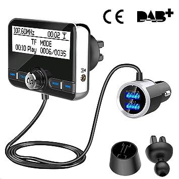 Dab Cargador Coche, Wonsidary Adaptador de Transmisión de Audio Digital con Manos Libres y Transmisión de Música por Bluetooth, Micro SD/TF Tarjeta ...