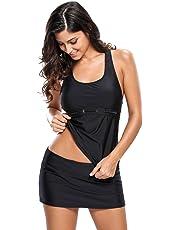 Traje de baño para Dama con Falda Color Negro Tallas Extras Blusa Tankini