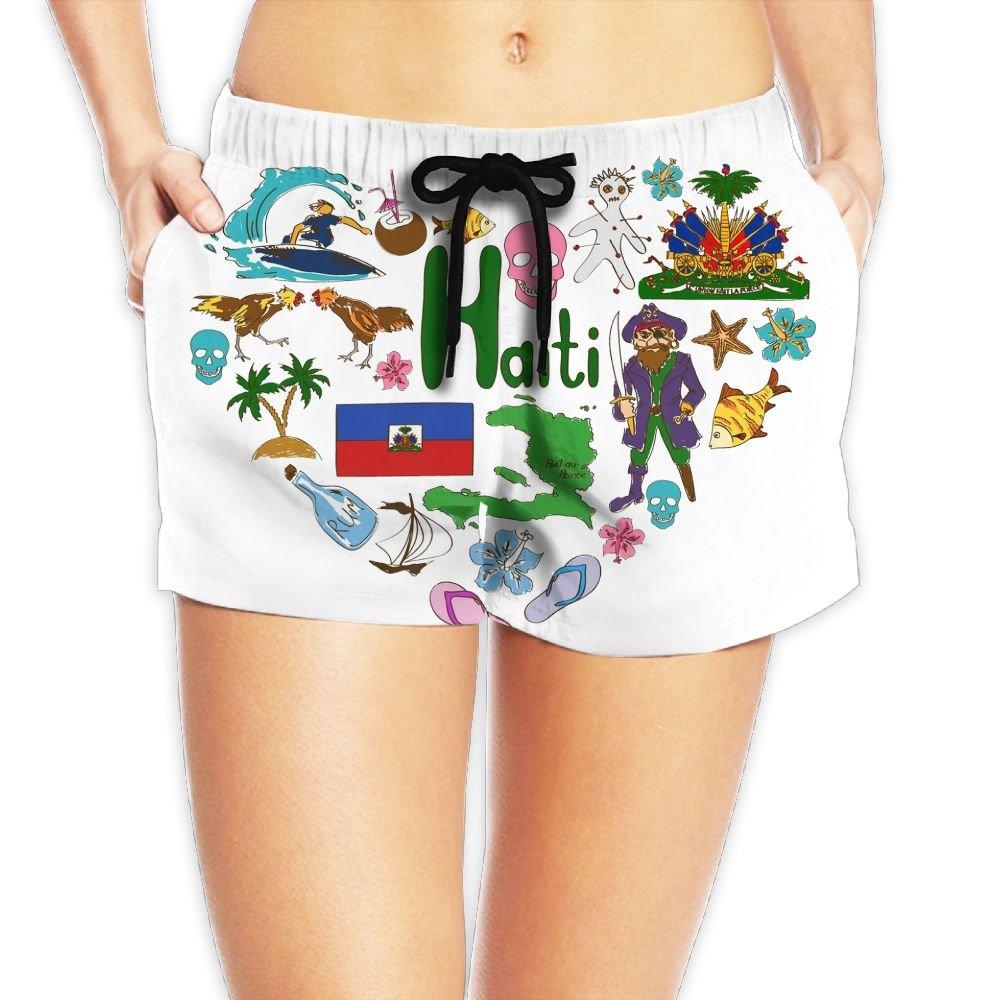 Travel to Haiti Women Fashion Sexy Quick Dry Lightweight Hot Pants Waist Beach Shorts Swimming Trunks
