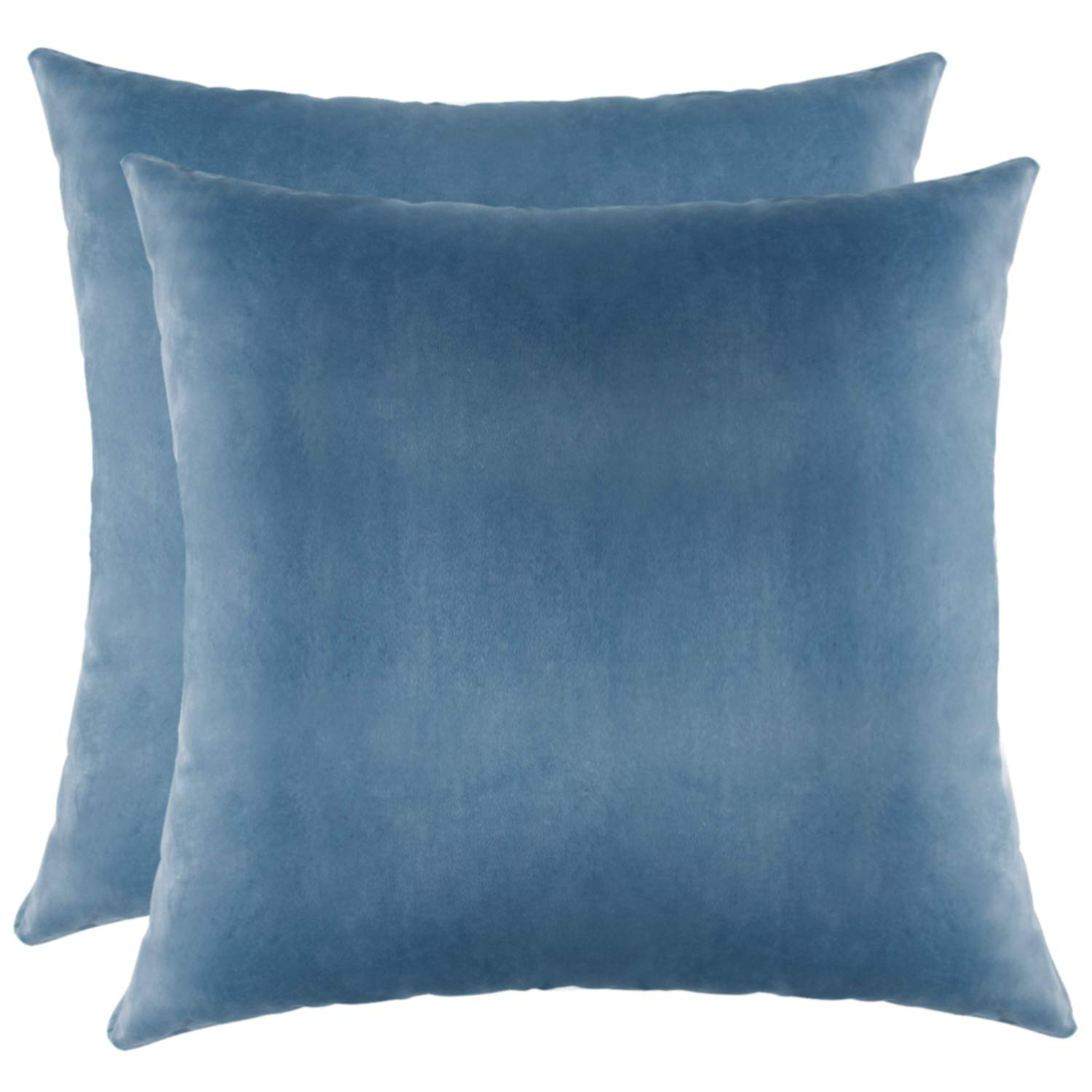 WFall Couch Pillow Covers, Soft Decorative Throw Pillows Case, Square Throw Pillow Covers for Couch Sofa Car 18x18, Pack of 2 (Lake Blue)