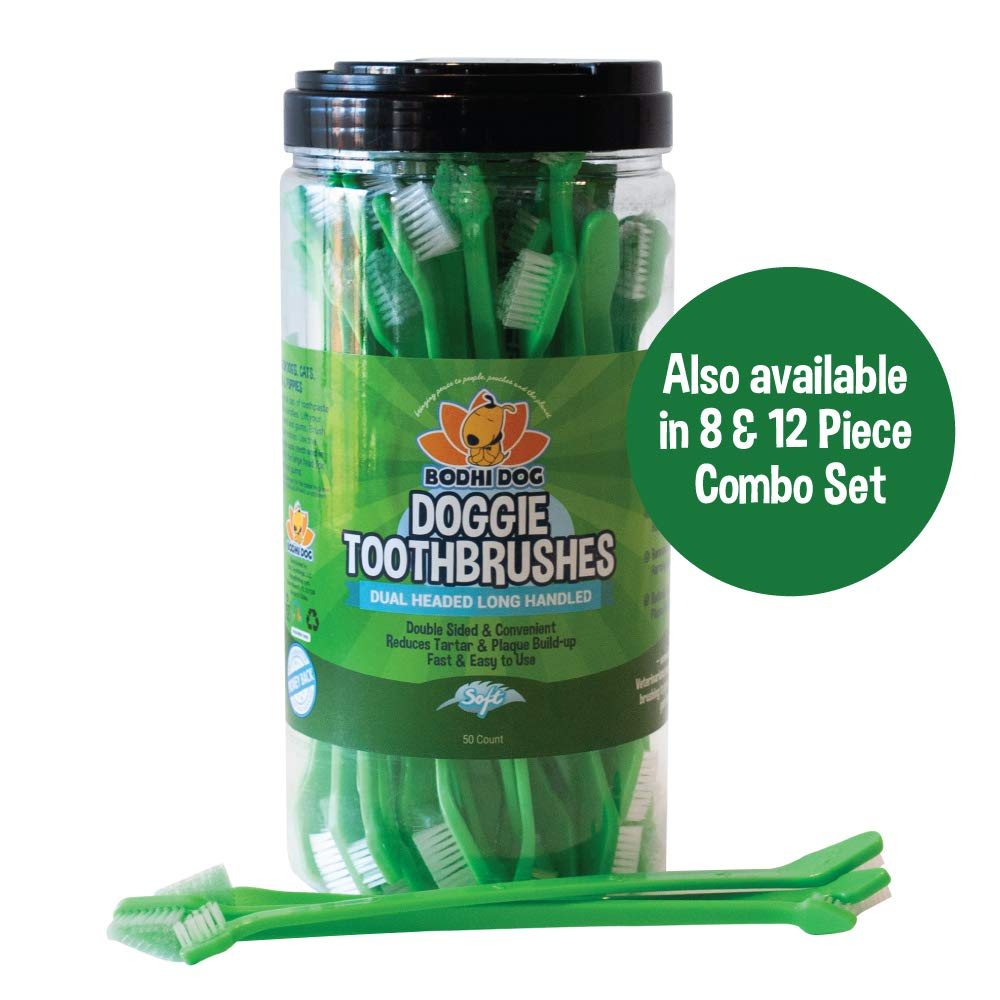 New Dual Ended Long Dog & Cat Toothbrush | Pet Safe Super Soft Bristles for Pet Dental & Oral Care Teeth & Gums | Bulk Container 50 Pack by Bodhi Dog