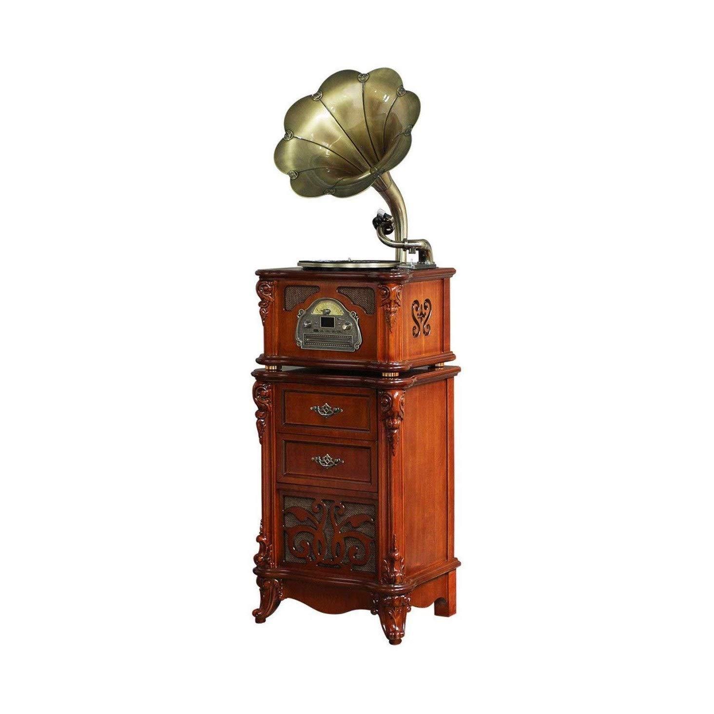 TBTUA Gramophone Speaker,Portable Wireless Retro Speaker,Louder,Stereo,Longer Playtime,Built-in Mic Compatible Wood Old…