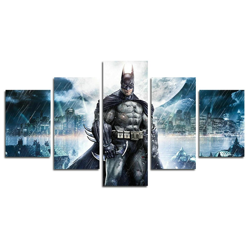 H.COZY5 Piece Batman V Superman Dawn Justice movie painting for living room home decor Canvas art wall poster (No Frame) Unframed SKU-MAX61 inch x30 inch