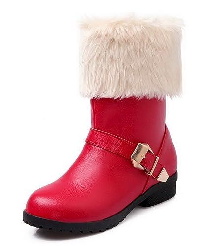 VogueZone009 Damen Ziehen auf Blend-Materialien Niedriger Absatz Rein Stiefel, Weinrot, 34
