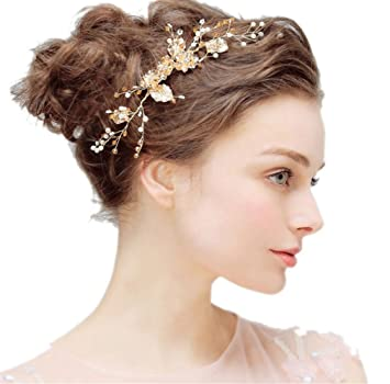 eebe2219e976b Amazon.com   Bridal Hair Comb Side pin Headpiece Flower Leaf Rhineston  Crystal Bead Wedding Hair Accessories Gold   Beauty
