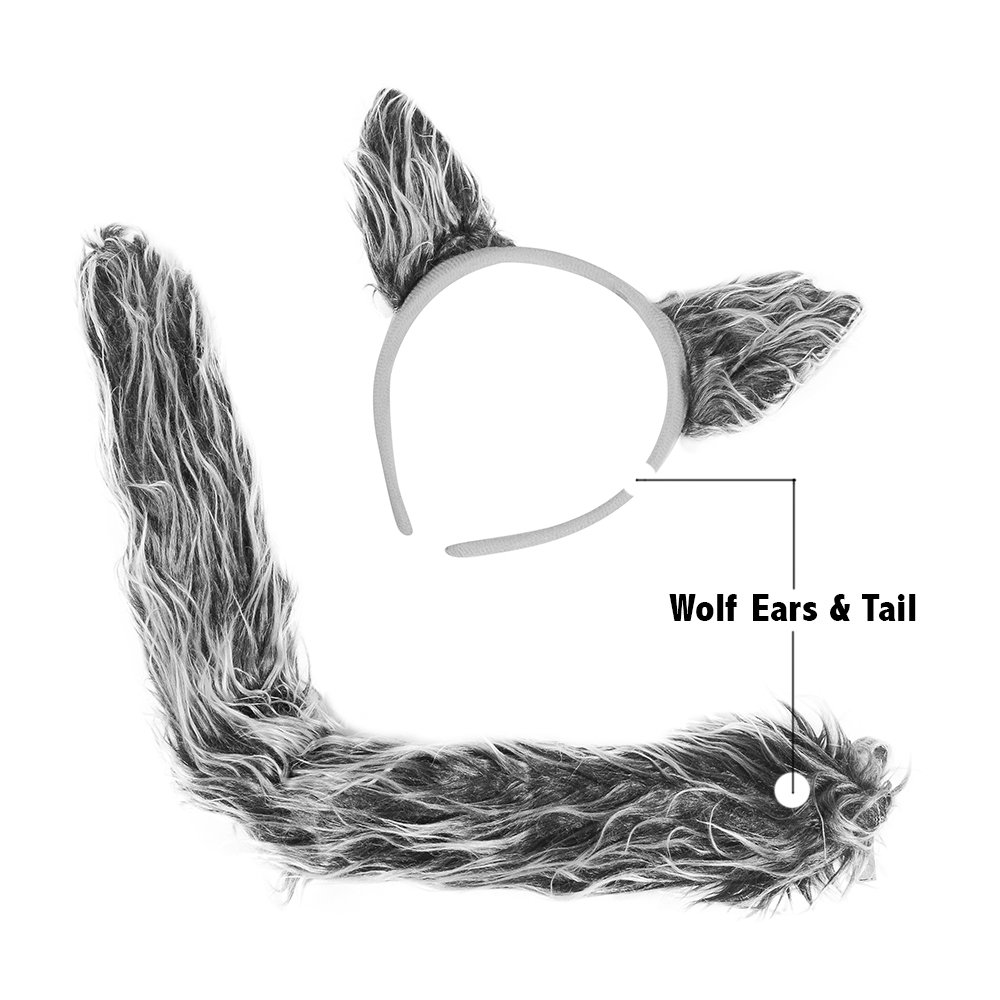 amazoncom wolf costume accessories wolf ears tail set by funny party hats health personal care