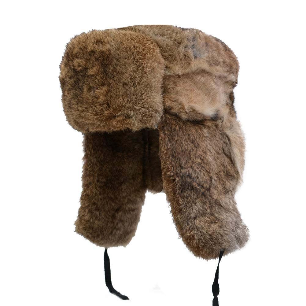 Yosang Genuine Rabbit fur Russian Ushanka Winter Hat Trapper Bomber w/Ear Flaps Brown, X-Large