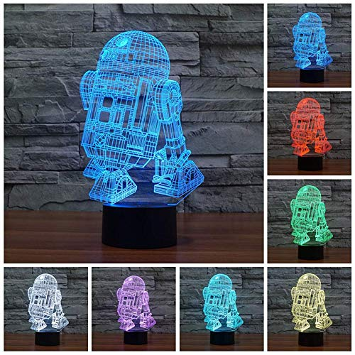 3D Illusion Platform Night Lighting Touch 7 Color Change Decor LED Lamp (R2-D2) ()