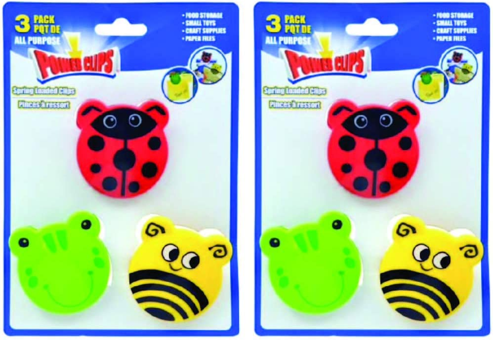 6 Spring Loader Bag Sealer with Animals. Power Clips Plastic Novelty Bag Clips. Frog, Ladybug, Bumble Bee Kitchen Set.