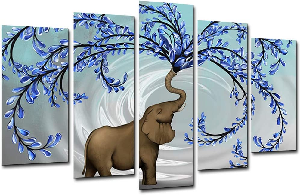KLVOS Large 5 Panel Blue Tree Wall Art with Elephant Painting Wall Decor for Living Room Bedroom Original Painting Picture Giclee Prints on Canvas Stretched Gallery Wrap Ready to Hang W-40