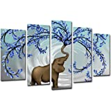 """KLVOS Large 5 Panel Blue Tree Wall Art with Elephant Painting Wall Decor for Living Room Bedroom Original Painting Picture Giclee Prints on Canvas Stretched Gallery Wrap Ready to Hang W-40""""x H-24"""""""