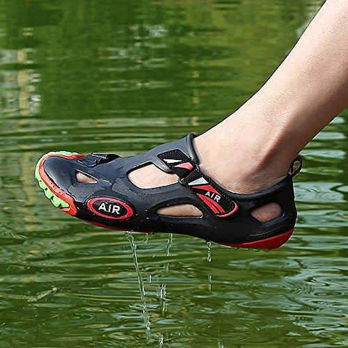 Herren Closed Toe Strand Wasser Schuhe Seitliche Klettverschluss EVA Garten Loch Jelly Clogs Sandalen Schwarz Grün
