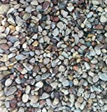 Safe & Non-Toxic {Small Size, 0.13'' to 0.25'' Inch} 60 Pound Bag of Gravel & Pebbles Decor for Freshwater Aquarium w/ Simple Natural Smooth River Inspired Sleek Earth Toned Style [Tan, Gray & Blue]