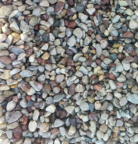"""Safe & Non-Toxic {Small Size, 0.13"""" to 0.25"""" Inch} 60 Pound Bag of Gravel & Pebbles Decor for Freshwater Aquarium w/ Simple Natural Smooth River Inspired Sleek Earth Toned Style [Tan, Gray & Blue]"""