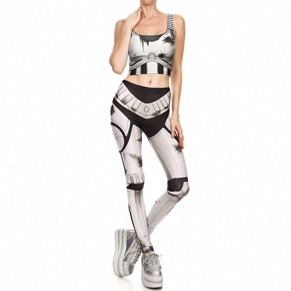 Hot prints Leggings sleeveless vest two sets of elastic tights suit