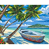 Amphol Beach DIY Paint by Numbers for Adults, Easy Paint by Numbers for Beginner, Acrylic Watercolor Paint Release Pressuer, Perfect for Gift Decor 16x20 Inch