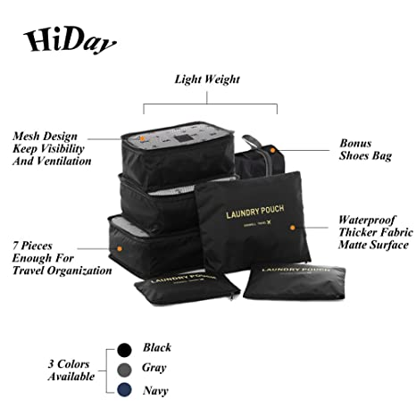 f6aaee6adb54 HiDay 7 Set Waterproof Packing Cube System - 3 Travel Cubes, 3 Pouches,1  Premium Shoes Bag - Perfect Travel Luggage Organizer
