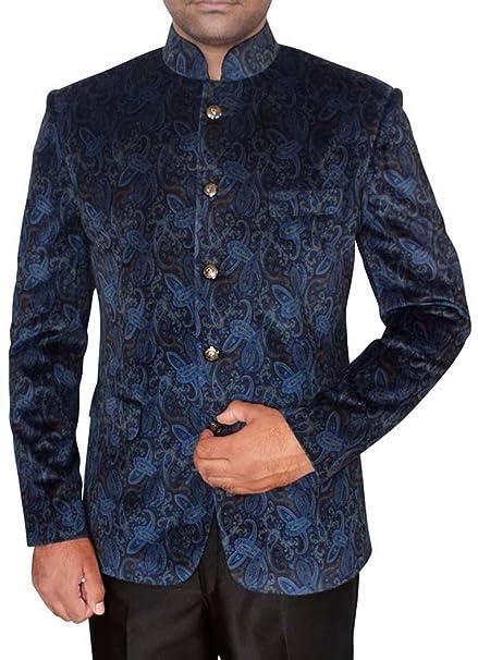 INMONARCH Hombres de Terciopelo Azul Acero Chaqueta Nehru ...