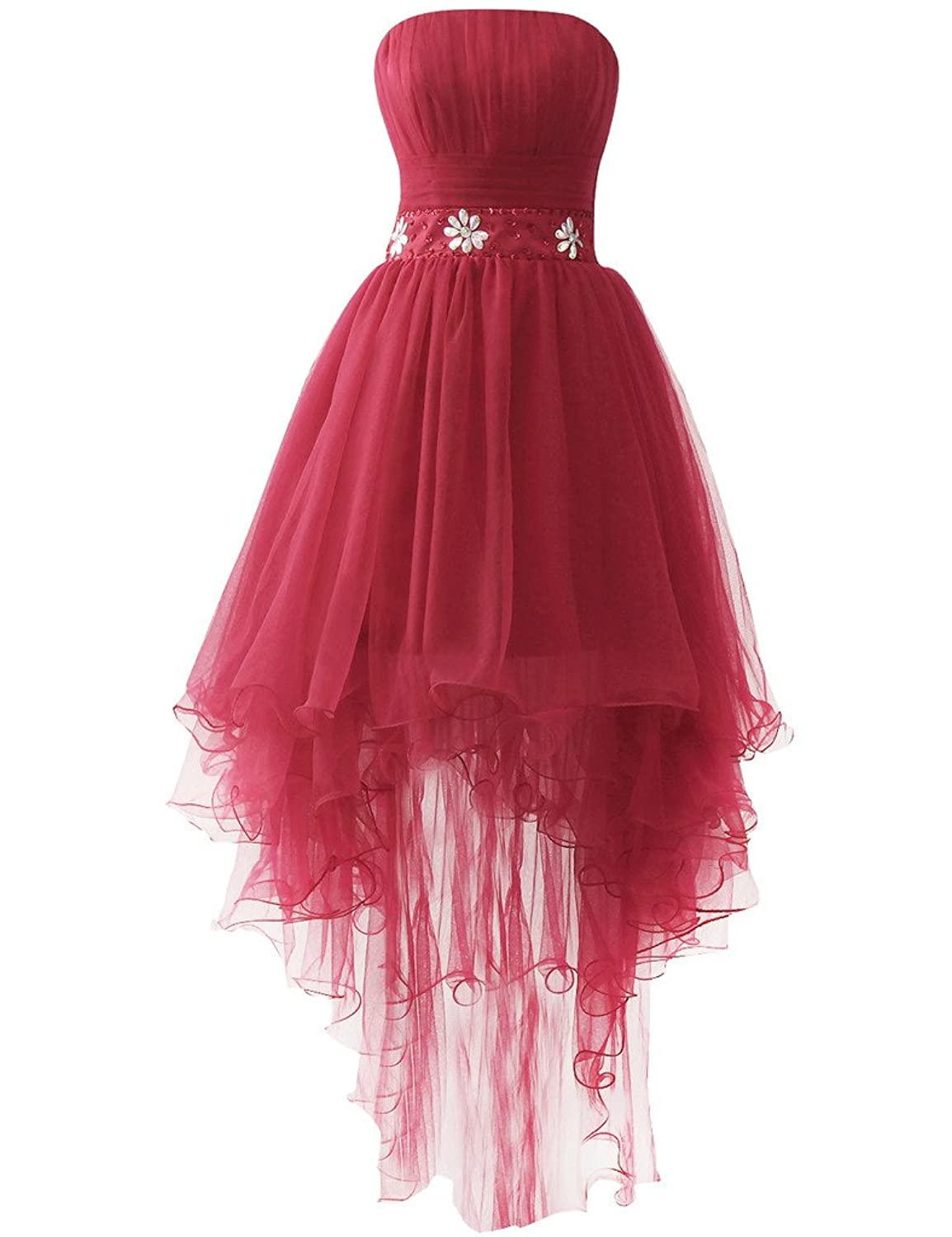 JAEDEN Strapless Prom Dresses High Low Homecoming Cocktail Dress