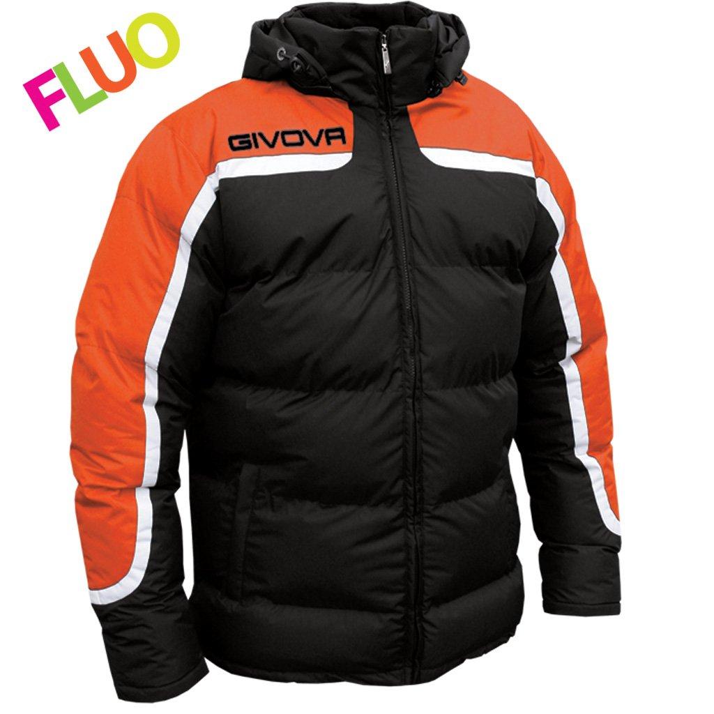 TALLA XS. Givova, chaqueta antartide, negro/noranja fluo, XS