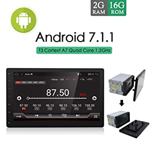 """10.1"""" Full Big-Screen Android 7.1 2G-RAM High Resolution:1024×600 Quad-Core Universal Car GPS 2 din Stereo Navigation Support WiFi OBD DBA Subwoofer Mirror Link with Camera(NO DVD CD Player)"""