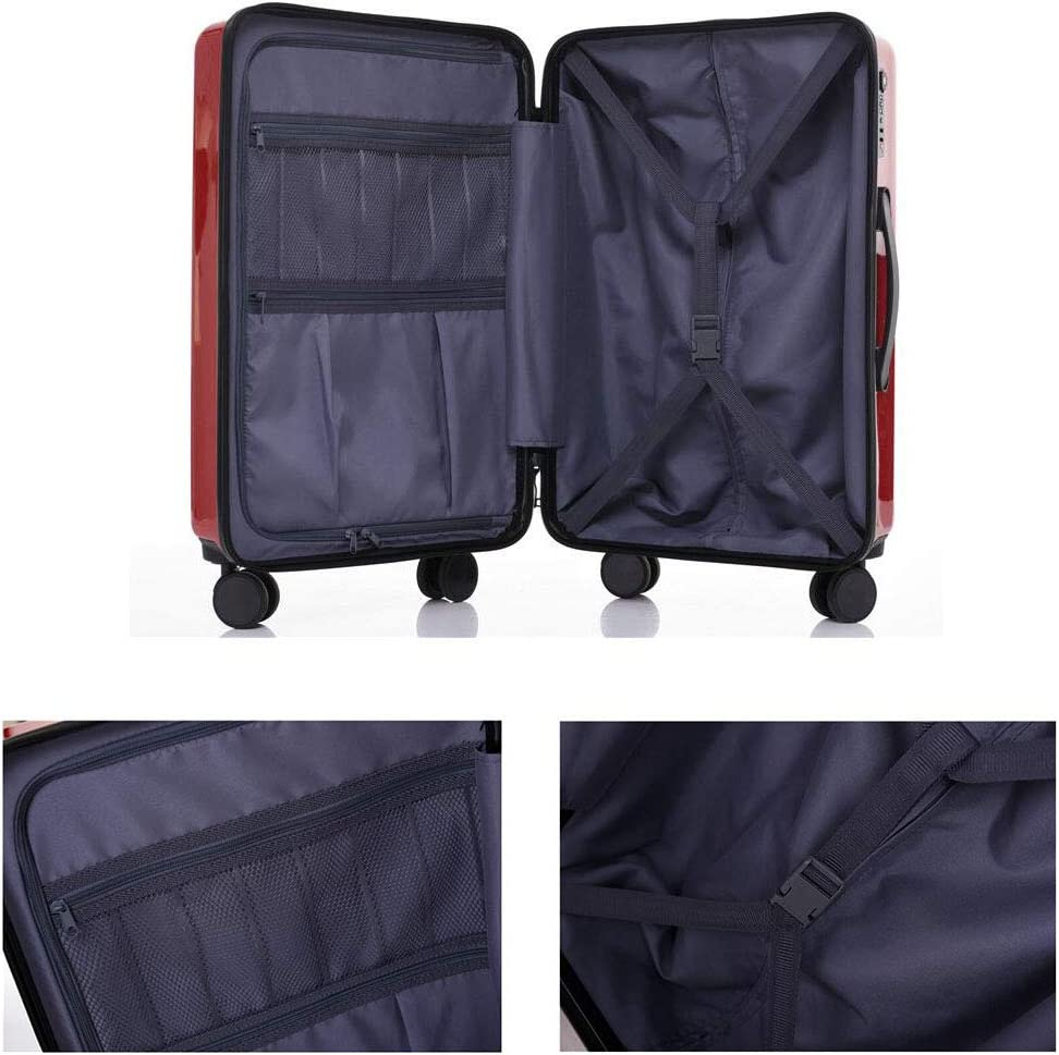 XIAOHAOHAO Trolley Case-Silent Universal Wheel-Anti-Theft-ABS Material Suitcase-Wearable Waterproof and Shockproof Suitcas,White,24in
