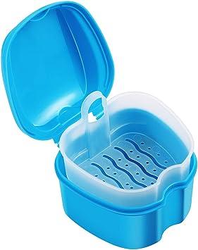 Healifty Estuche de dentadura Caja de dentadura Contenedor de limpieza Falsos dientes Caja de almacenamiento con colador para limpieza de retenedor de viaje (azul cielo): Amazon.es: Salud y cuidado personal