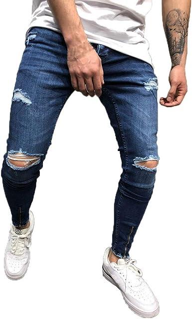 Pantalones Vaqueros Para Hombre Casuales Moda Pantalones Vaqueros Rotos Hombre Jeans Trend Largo Pantalones Pants Skinny Pantalon Ropa Fitness Hombre Jeans Largos Pantalones Vpass Amazon Es Ropa Y Accesorios