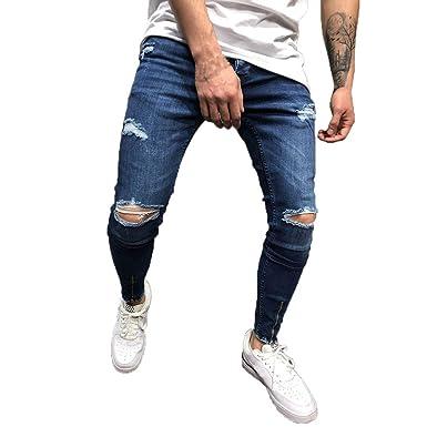 Pantalones Hombre Vaqueros Rotos Bolsillos Tallas Grandes Moda y ...