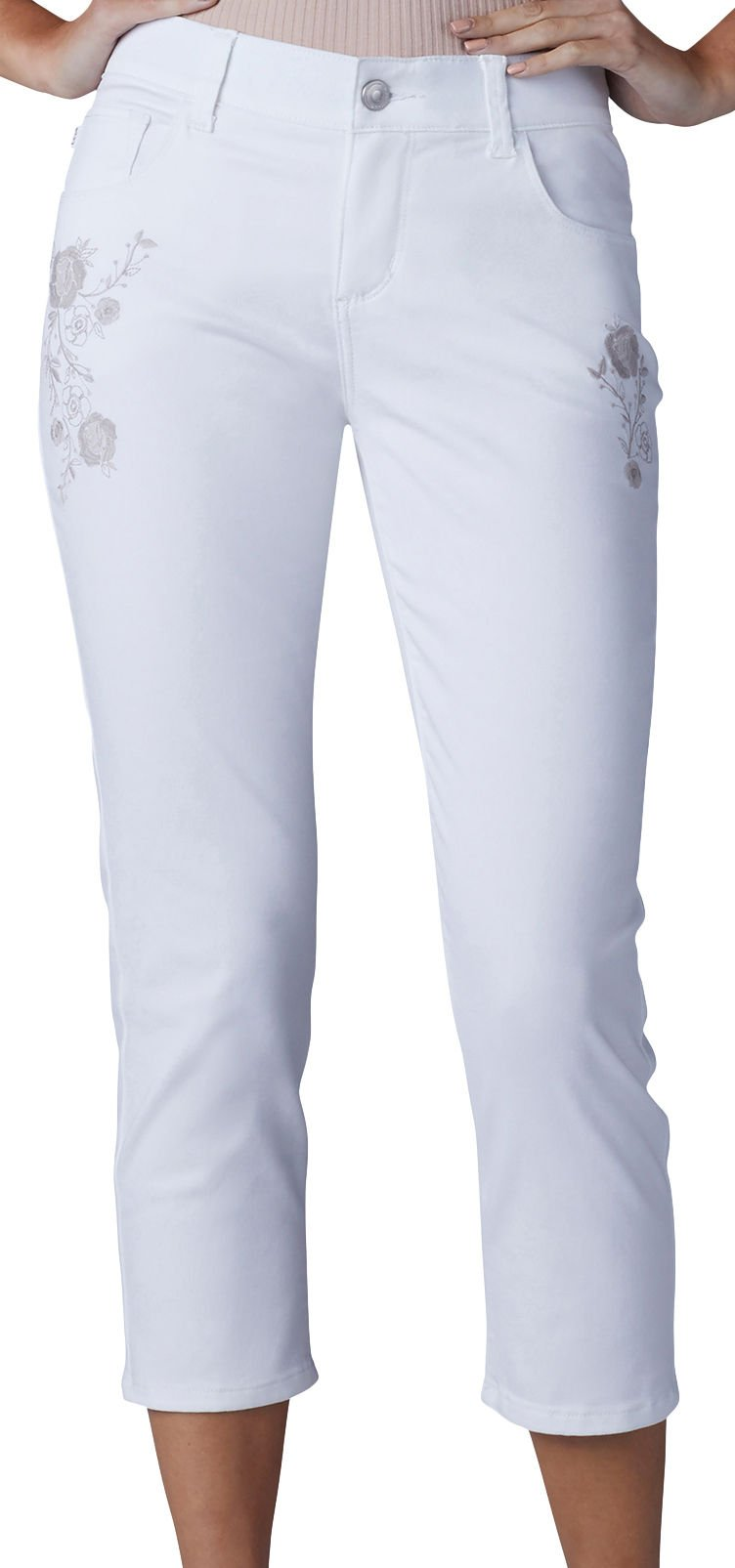 LEE Women's Petite Modern Series Total Freedom Arleigh Capri Jean, White with Embroidery, 10