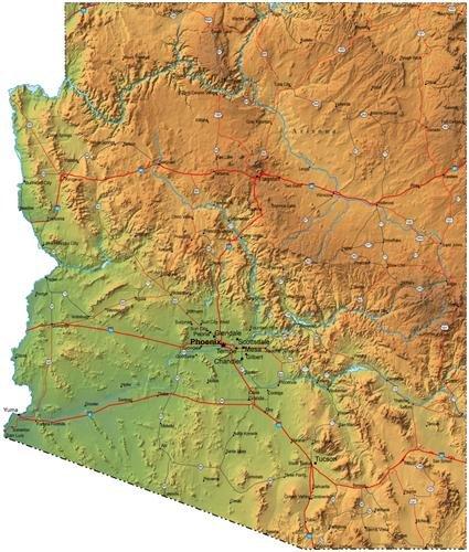 Arizona Wall Map (MAP OF ARIZONA GLOSSY POSTER PICTURE PHOTO capital phoenix az suns cardinals)