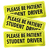 #10: Advgears Set of 3 Student Driver Stickers Magnet Car Safety Signs - Car Vehicle Reflective Sign Sticker Bumper for New Driver