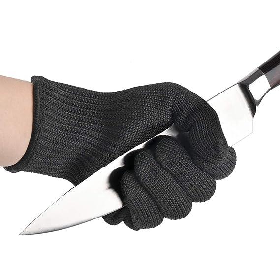 Guantes de trabajo resistentes al corte a prueba de cuchillos, Guante de trabajo de seguridad de cota de malla negra, Guantes protectores de corte de ...