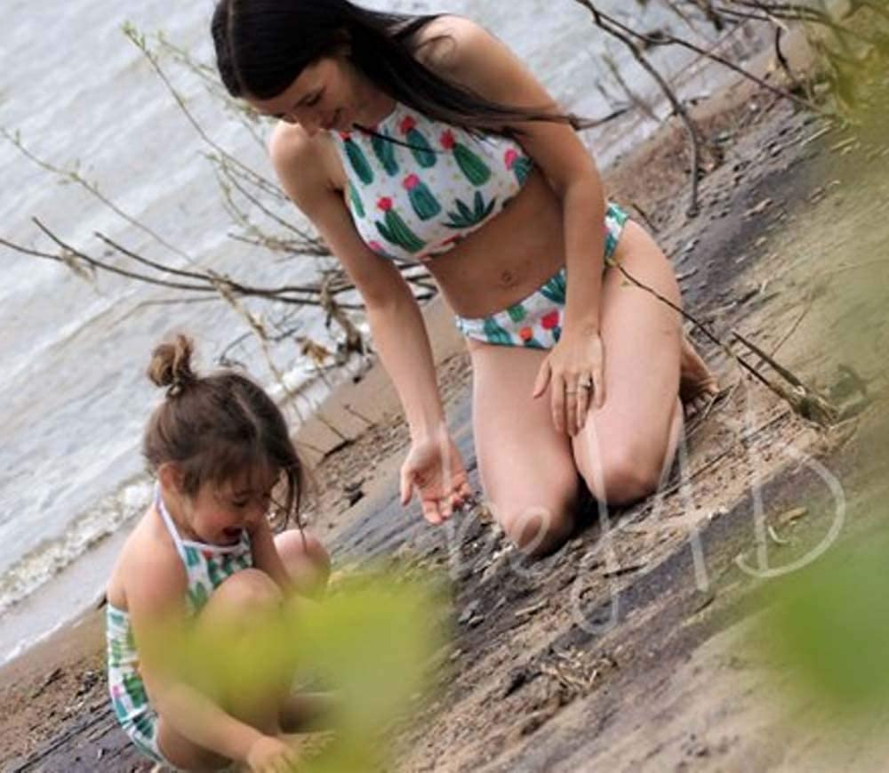 Mommy and Me Cactus Print Bathing Suit Family Matching Strappy Halter Swimsuit Adjustable Straps Swimwear Bikini Sets