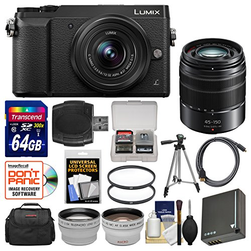 Panasonic Lumix DMC-GX85 4K Wi-Fi Digital Camera & 12-32mm (Black) with 45-150mm Lens + 64GB Card + Case + Battery + Tripod + Tele/Wide Lens Kit