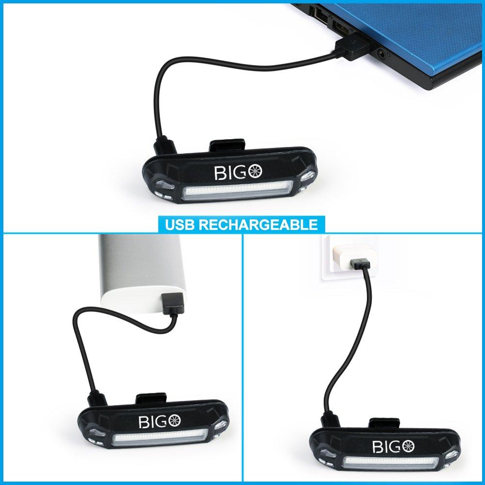 Fahrrad Rücklicht, BIGO Ultra Hell LED USB Aufladbar Wasserdichte ...