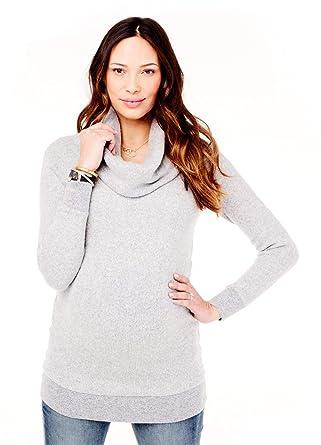 210844f3dac65 Ingrid & Isabel Women's Maternity Cowl Neck Sweater Tunic, Heather Grey,  Extra Small