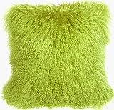 Pillow Decor Brand - Genuine Mongolian Sheepskin Green Throw Pillow