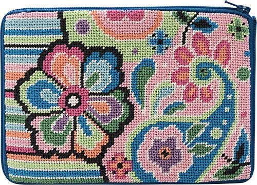 - Stitch & Zip Needlepoint Cosmetic Purse Kit- Pastel Floral Paisley