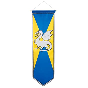 100cm Medieval Knights And Dragons Banner Flag Standard Medieval Dragon  Party Decoration Hanging Yellow And Blue