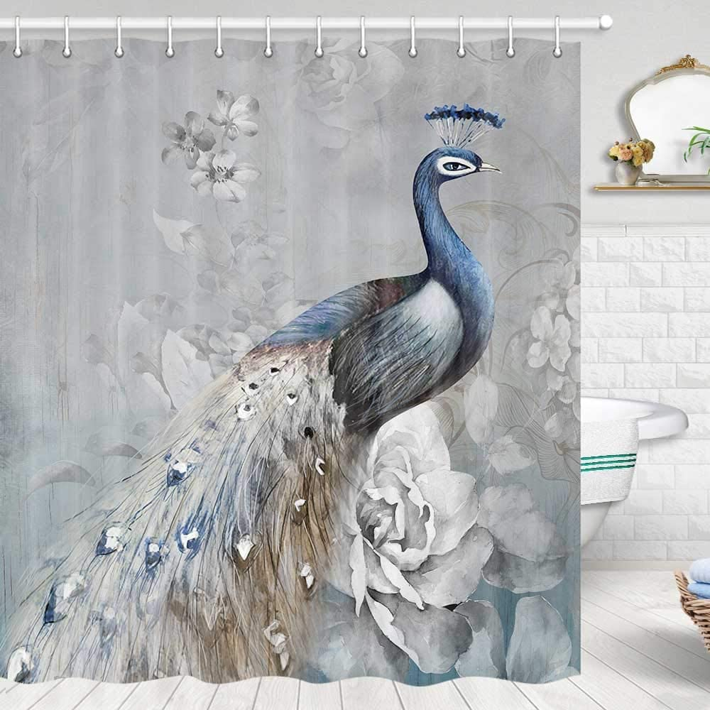Peacock Shower Curtain, Tropics Wildlife Animal Peacock Shower Curtain, Grey Shower Curtain Bathroom Decor
