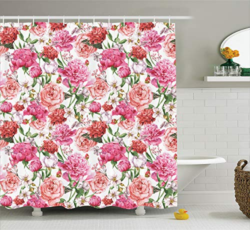 Ambesonne Watercolor Flower Decor Shower Curtain Set, Victorian Style Floral Pattern Painting Style Print with Peonies and Roses, Bathroom Accessories, 84 Inches Extralong, Pink White