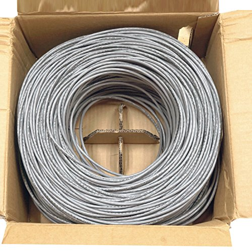 Five Star Cable Cat5e 1000 Ft CMR Rated 24AWG Solid Bare Copper Conductor UTP ETL Listed PVC Network Ethernet Cable - Grey color