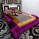 Peponi Ethnic Wedding Bedding Set 8 Pcs (1 Quilt, 1 Double Bed Sheet, 2 Pillow Covers, 2 Filled Cushions, 2 Filled Bolster)
